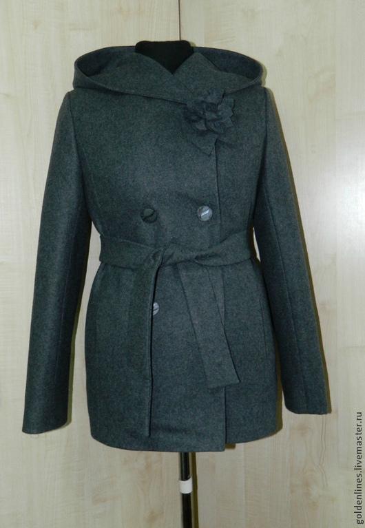 Верхняя одежда ручной работы. Ярмарка Мастеров - ручная работа. Купить пальто короткое с капюшоном. Handmade. Серый, пальто женское