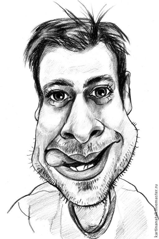 Юмор ручной работы. Ярмарка Мастеров - ручная работа. Купить Шарж-портрет по фото  21х30 см. черным карандашом.. Handmade.