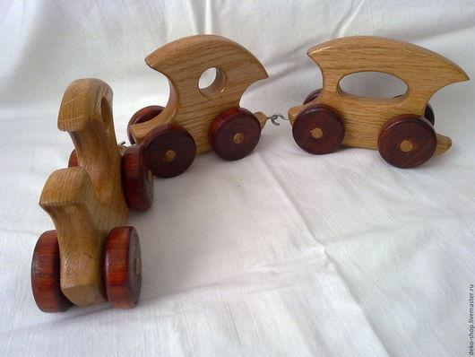 Развивающие игрушки ручной работы. Ярмарка Мастеров - ручная работа. Купить Паровозик с вагончиками - авторская игрушка из дерева. Handmade. Бежевый