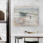 Картины и панно handmade. Livemaster - original item Picture is a Little bit of spring. (40h50 cm) (loft, blue, snow, boat). Handmade.