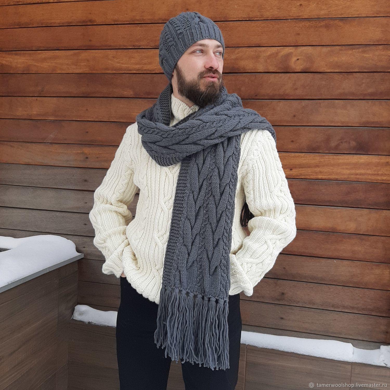 Мужской вязаный шарф с косами, вязаный комплект для мужчины, Шарфы, Москва,  Фото №1