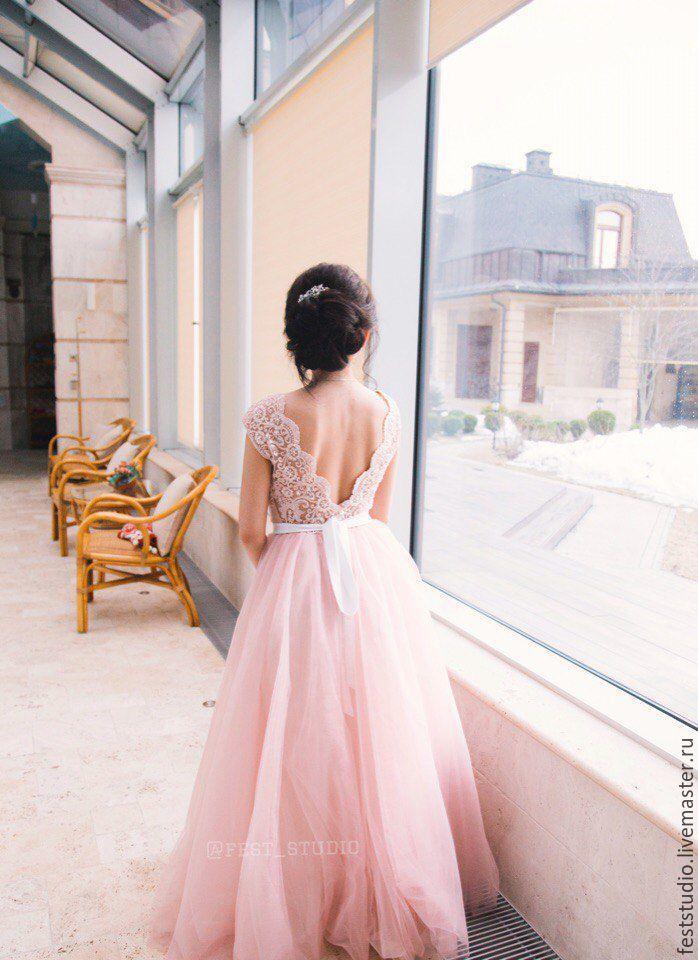 c1b4cb6065b8132 Одежда и аксессуары ручной работы. Ярмарка Мастеров - ручная работа. Купить Пудровое  свадебное платье ...