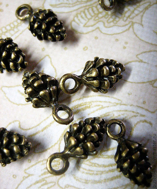 Для украшений ручной работы. Ярмарка Мастеров - ручная работа. Купить Подвеска Шишка 3D, античная бронза (1шт). Handmade.