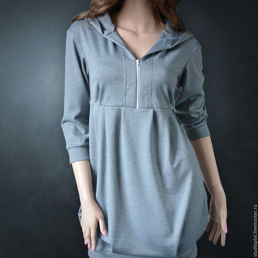 Платье-туника `Катрин` серая Цвета: светло-серый, темно-серый, белый, красный, черный, васильковый