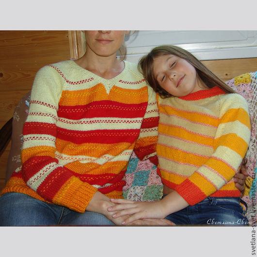 """Кофты и свитера ручной работы. Ярмарка Мастеров - ручная работа. Купить джемпер вязаный  """"Апельсиновый праздник"""". Handmade. Оранжевый свитер"""