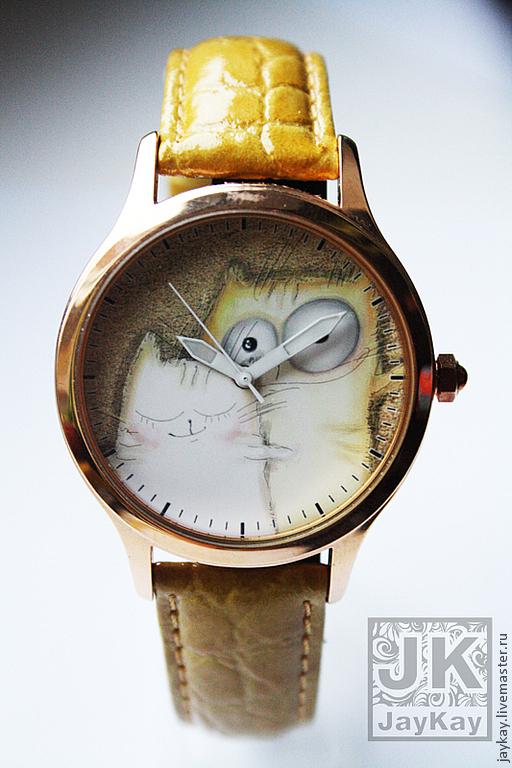"""Часы ручной работы. Ярмарка Мастеров - ручная работа. Купить Часы наручные JK """"Котики пара"""". Handmade. Наручные часы"""