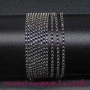 Материалы для творчества handmade. Livemaster - original item SS6 rhinestone chain 2 mm Dark amethyst in silver dapples 10 cm. Handmade.