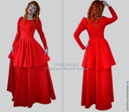 """Платья ручной работы. Ярмарка Мастеров - ручная работа. Купить Платье """"Эвелина"""". Handmade. Ярко-красный, роковой красный"""