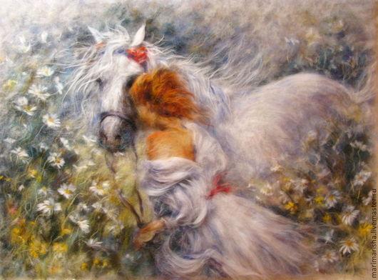 Пейзаж ручной работы. Ярмарка Мастеров - ручная работа. Купить Картина из шерсти Девушка с белой лошадью. Handmade. Картина для интерьера