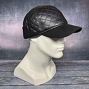 Аксессуары handmade. Livemaster - original item Demi-season black leather baseball cap. Handmade.