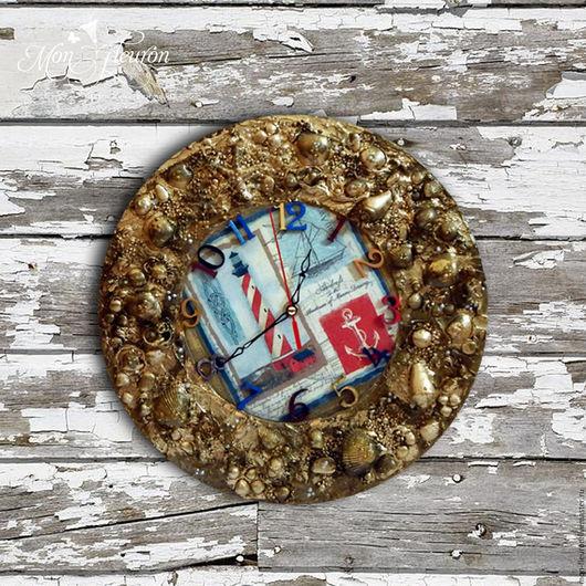 """Часы для дома ручной работы. Ярмарка Мастеров - ручная работа. Купить Часы """" На семи ветрах"""". Handmade. Золотой"""
