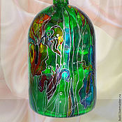 Посуда handmade. Livemaster - original item Bottle vintage Colored Irises, stained glass painting. Handmade.