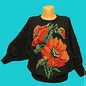 Одежда ручной работы. Ярмарка Мастеров - ручная работа джемпер вязаный женский  Красные маки с вышивкой. Handmade.