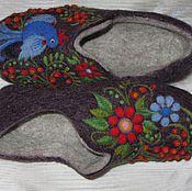 """Тапочки ручной работы. Ярмарка Мастеров - ручная работа Валяные тапочки """"Синяя птица"""". Handmade."""