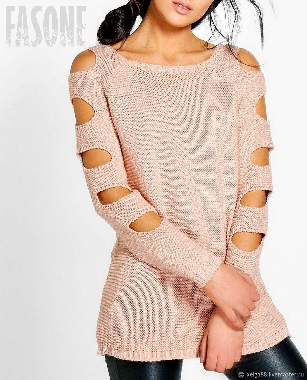 Кофты и свитера ручной работы. Ярмарка Мастеров - ручная работа. Купить Свитеры: Женский свитер розовый с прорезями на рукавах. Handmade.