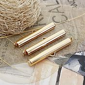 Материалы для творчества handmade. Livemaster - original item End cap tube slider 30mm gold plated (3493). Handmade.