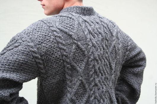 Кофты и свитера ручной работы. Ярмарка Мастеров - ручная работа. Купить Свитер мужской темно-серого цвета без ворота. Handmade.