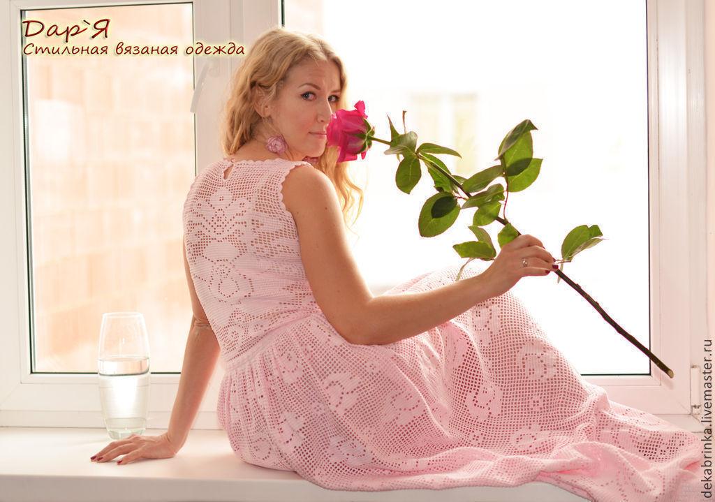 нежная роза вязаное крючком кружевное платье с розами купить в
