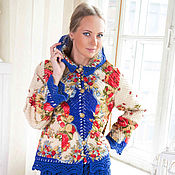 Одежда ручной работы. Ярмарка Мастеров - ручная работа костюм из павловопосадского платка Свадебная лента. Handmade.
