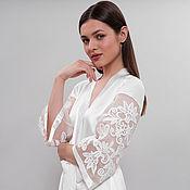 Одежда handmade. Livemaster - original item Long Bridal Robe with Cotton Lace Applique D7(long), Bridal Lingerie. Handmade.