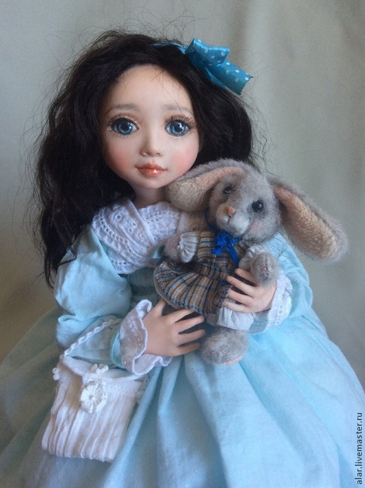 Коллекционные куклы ручной работы. Ярмарка Мастеров - ручная работа. Купить Зайка моя. Handmade. Голубой, зайчик, натуральная кожа