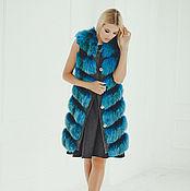 Одежда handmade. Livemaster - original item Fox fur vest in blue. Handmade.