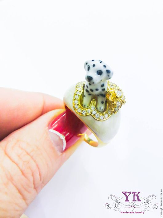 """Кольца ручной работы. Ярмарка Мастеров - ручная работа. Купить Кольцо из серебра, эмали и цирконов """"Далматинец"""". Handmade. Комбинированный"""
