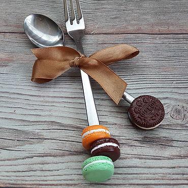Посуда ручной работы. Ярмарка Мастеров - ручная работа Вкусная ложка, набор ложка и  вилка, ложка с декором. Handmade.