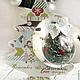 Новый год 2017 ручной работы. Декор новогоднего стеклянного шарика с елочкой. Mari_Bi      (Марина Билан). Интернет-магазин Ярмарка Мастеров.