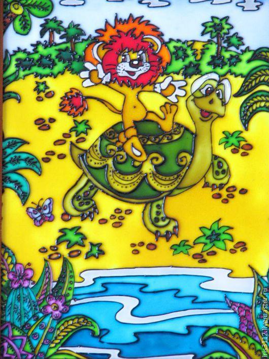 """Животные ручной работы. Ярмарка Мастеров - ручная работа. Купить """"Покатай меня Большая Черепаха!"""" Витражная роспись стекла. Handmade."""