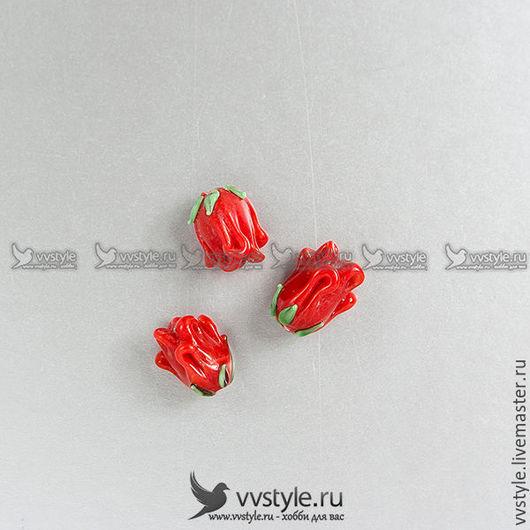 Для украшений ручной работы. Ярмарка Мастеров - ручная работа. Купить Бутон Роза Красный Лампворк 12мм. стекло Бусина 1шт. (bl-150117-ch345). Handmade.