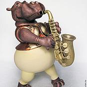 Куклы и игрушки ручной работы. Ярмарка Мастеров - ручная работа Бегемот играющий на саксофоне. Handmade.