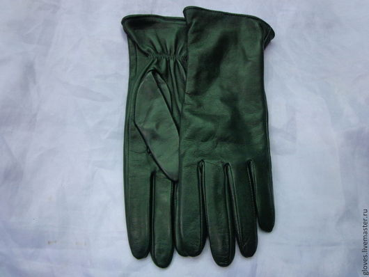 Варежки, митенки, перчатки ручной работы. Ярмарка Мастеров - ручная работа. Купить Перчатки женские кожаные на шерстяной подкладке(зеленые). Handmade.