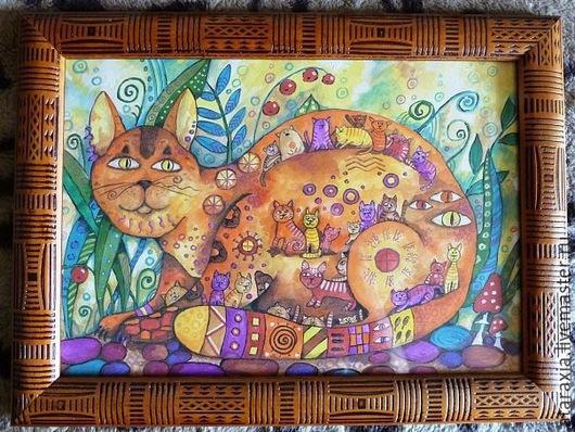 Фантазийные сюжеты ручной работы. Ярмарка Мастеров - ручная работа. Купить Мартовские кошки. Handmade. Разноцветный, котята, кот