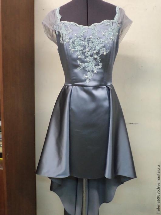 Платья ручной работы. Ярмарка Мастеров - ручная работа. Купить Вечернее платье. Handmade. Серый, корсет с кружевом, атлас-стрейч