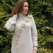 Одежда handmade. Livemaster - original item Knit dress from angori color linen Antik style. Handmade.