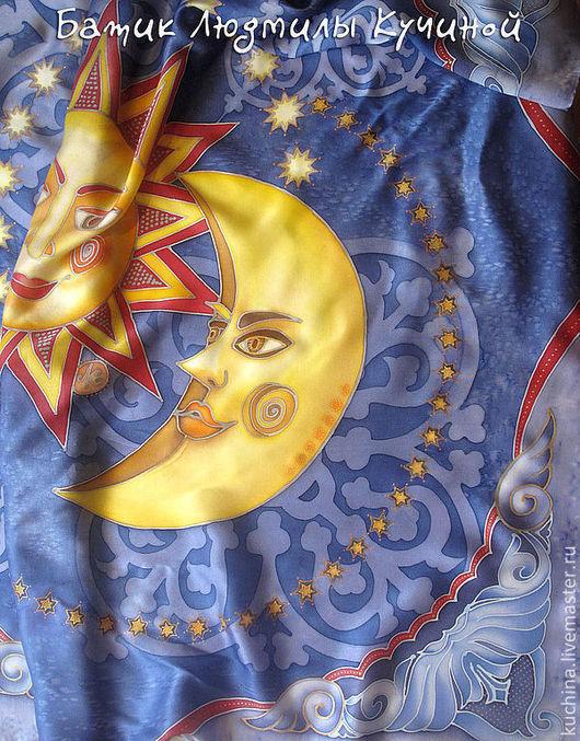 """Шали, палантины ручной работы. Ярмарка Мастеров - ручная работа. Купить батик платок """"Солнце и Луна"""", натуральный шелк. Handmade."""