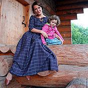 """Одежда ручной работы. Ярмарка Мастеров - ручная работа Клетчатое платье в пол из 100% шерсти """"СКАРЛЕТТ"""". Handmade."""