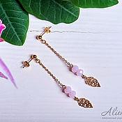 Украшения handmade. Livemaster - original item Long gold earrings with leaves and pink beads. Handmade.