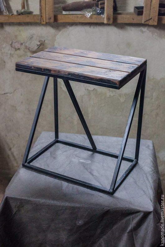 Мебель ручной работы. Ярмарка Мастеров - ручная работа. Купить Табурет в стиле Лофт (Loft). Handmade. Черный, Мебель, дерево