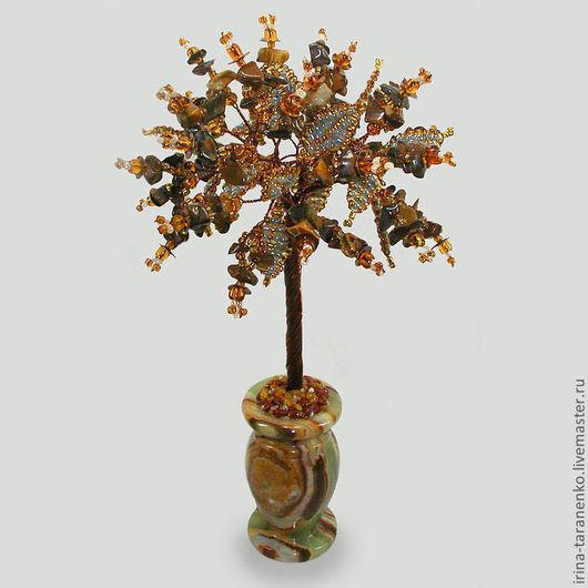 Дерево жизни из тигрового глаза в вазочке из оникса