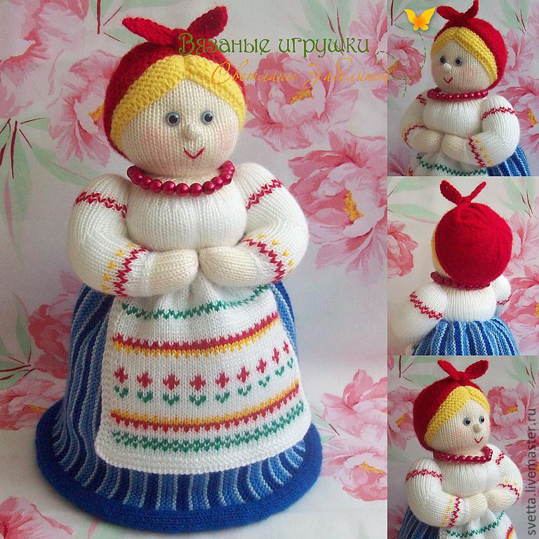 Вязаная кукла грелка на чайник своими руками