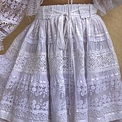 Одежда handmade. Livemaster - original item White skirt made of cotton, sewing and lace in boho-Odette style. Handmade.