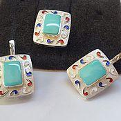 Украшения handmade. Livemaster - original item Klarissa.  Earrings, ring with turquoise and enamel in 925 silver. Handmade.