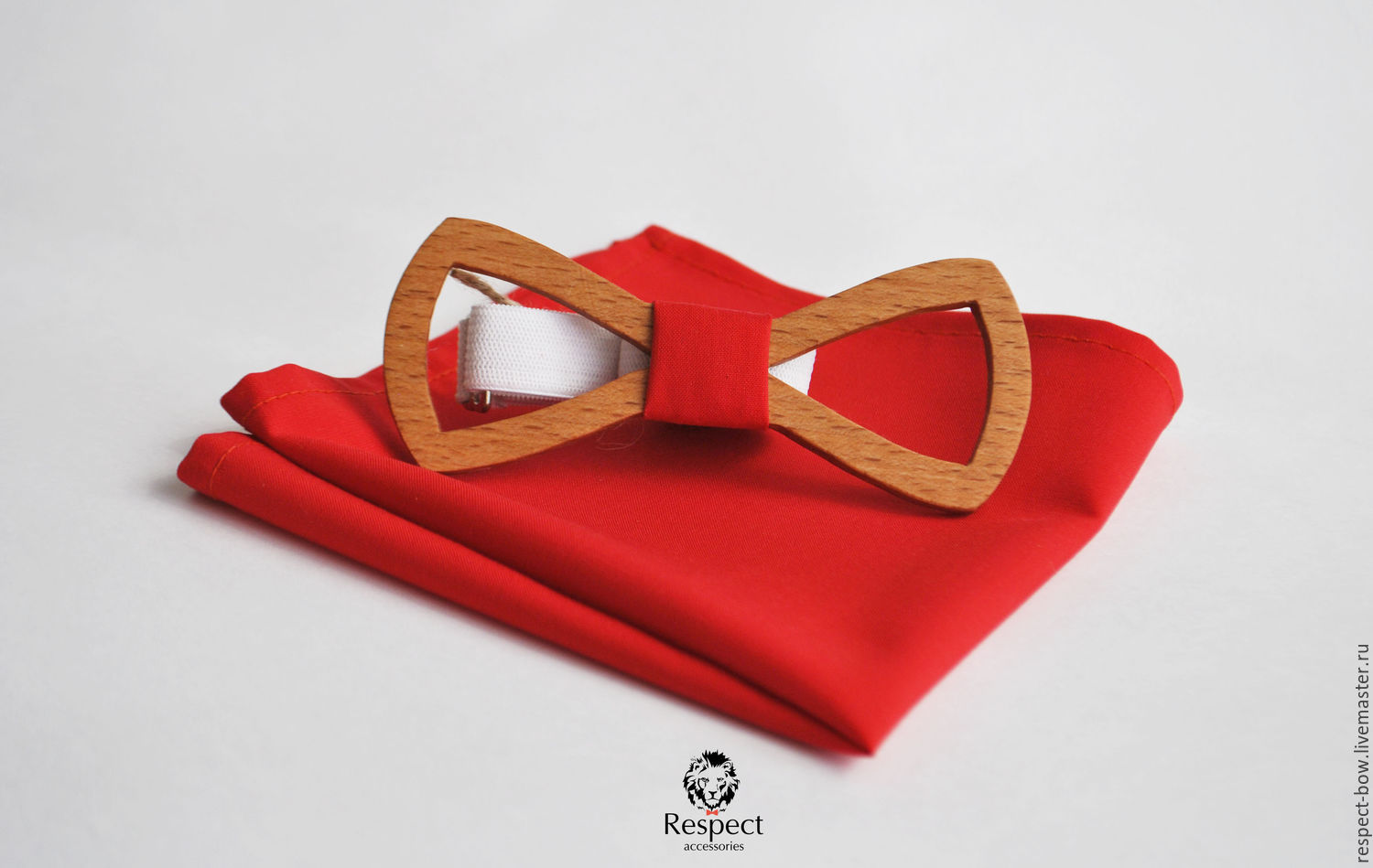 Wooden butterfly tie Marlboro red pocket square Pasha, Ties, Moscow,  Фото №1