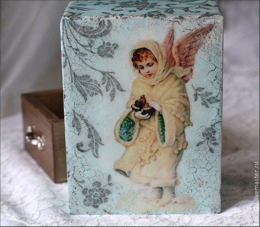 """Шкатулки ручной работы. Ярмарка Мастеров - ручная работа. Купить Шкатулка """"Зимний ангел"""". Handmade. Голубой, шкатулка для мелочей, для бижутерии"""