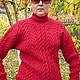 Sweatshirts & Sweaters handmade. Livemaster - handmade. Buy Sweater knit 'Red-fine'.Pullover with braids, handmade