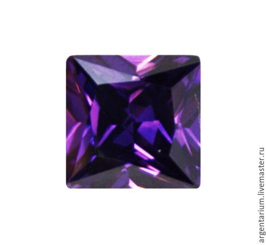Для украшений ручной работы. Ярмарка Мастеров - ручная работа. Купить Фианит (кубик циркония) 5мм, 6мм каре фиолетовый. Handmade.