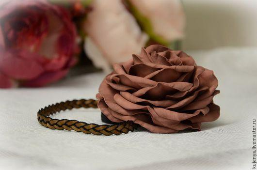 Диадемы, обручи ручной работы. Ярмарка Мастеров - ручная работа. Купить Греческая повязка с розой из фоамирана. Handmade. Коричневый, роза