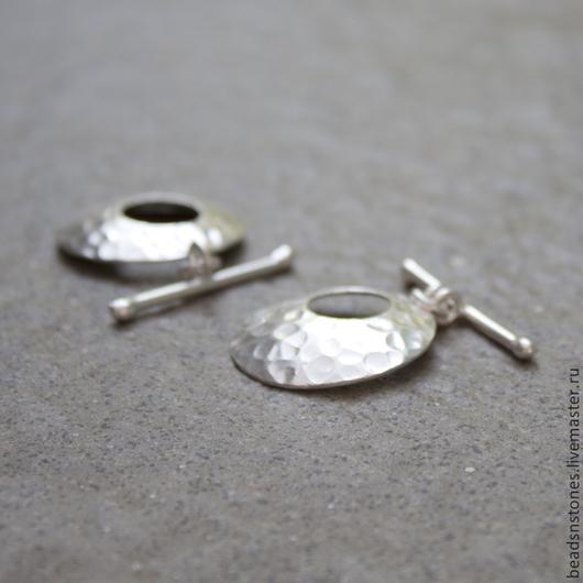 Для украшений ручной работы. Ярмарка Мастеров - ручная работа. Купить Тогл текстурный SZD127, серебро, ручная работа. Handmade.